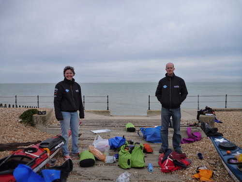 The support team arrives at the coast: Support Driver Claire Rasell and Logistics Manager Tim Moss.