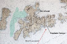 Chart showing the island of Adak, the direction Sarah will be approaching the island from, the Kagalaska Passage where Sarah will go through to get to Adak Port.
