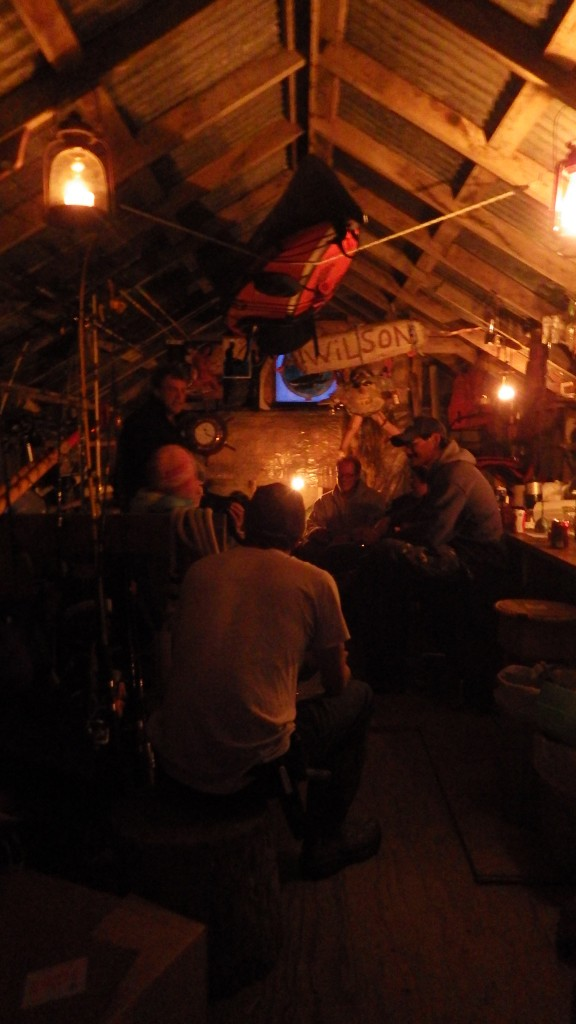 Enjoying an evening in 'the boatshed' - a beer or two and stories galore
