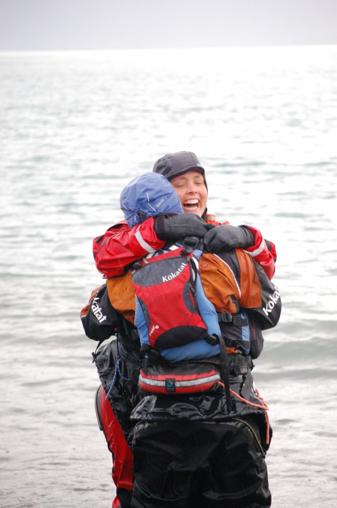 1300 miles went into that hug. Courtesy of Michael Armstrong, Homer (Alaska) News