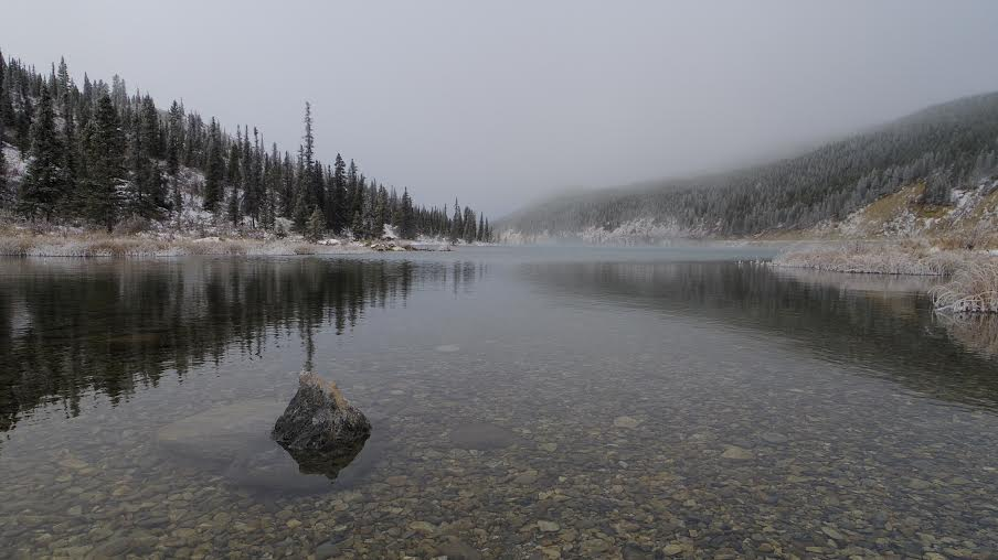 Summit Lake in the mist and snow