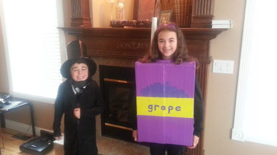 Abe Lincoln and a Juice Box for Halloween