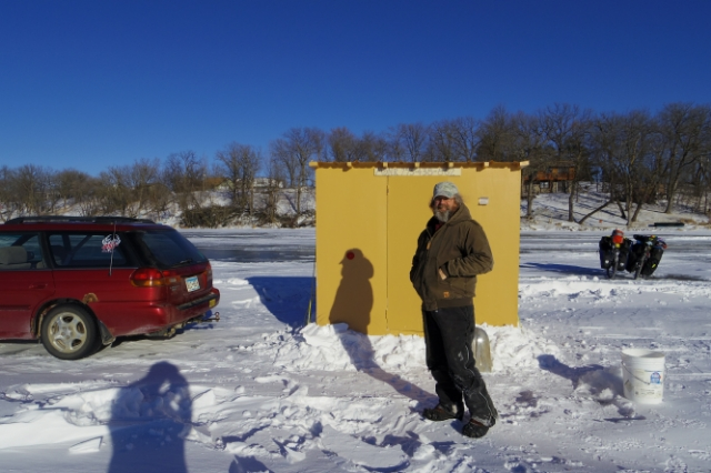 Jeff and his ice fishing hut