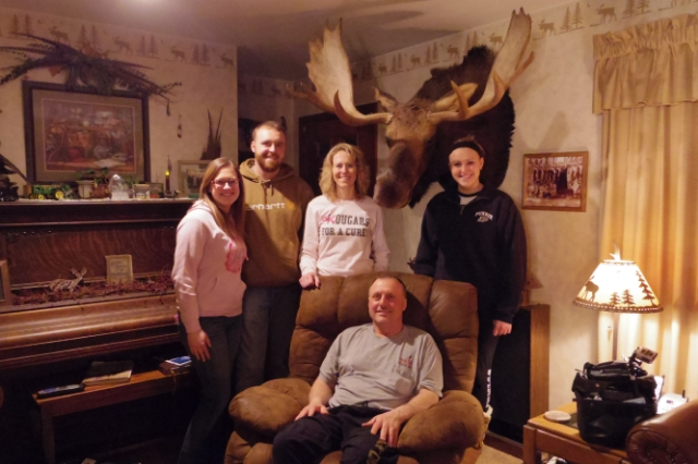 The Scheurich family and their moose