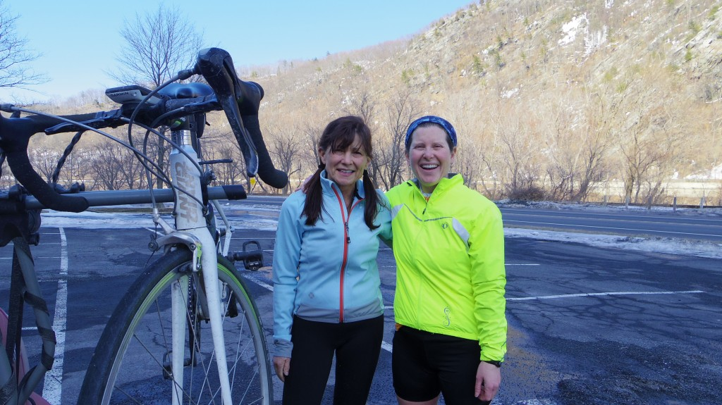 Lynn and Lisa were the first road cyclists I had seen for some time, enjoying the warm weather