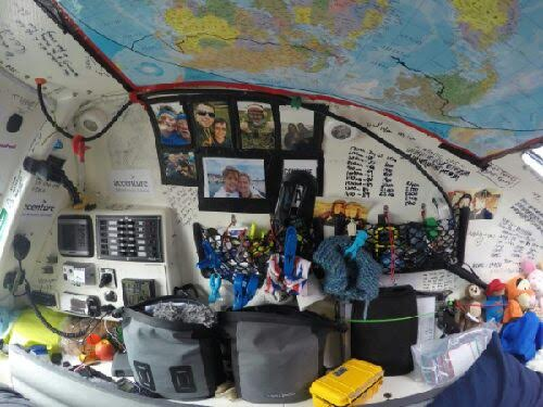 This side of the cabin has the elec & comms panel, photos & day tally, cuddly toys, camera gear, cooking locker, creams/ powders