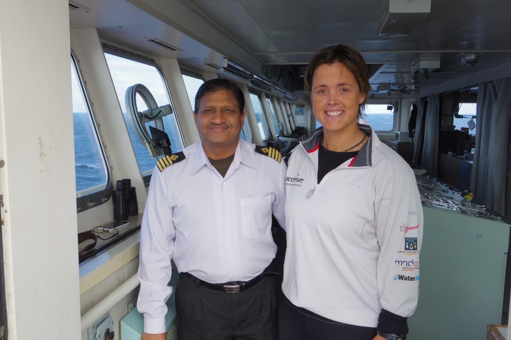 Captain Gupta and myself on the bridge of Federal Oshima