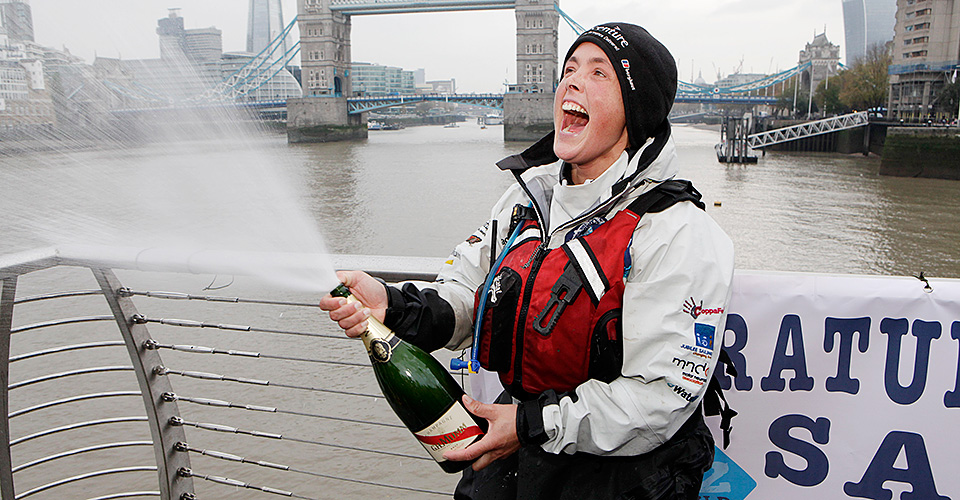 Sarah arrives back at Tower Bridge after completing her London2London expedition